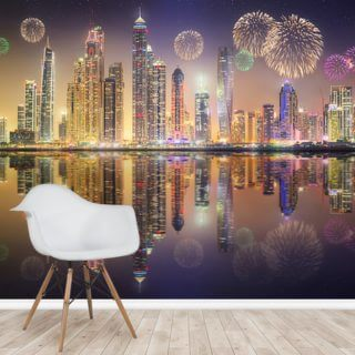 Beautiful Fireworks in Dubai Marina Wallpaper Wall Murals