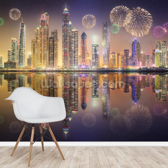 Beautiful Fireworks in Dubai Marina wallpaper mural room setting