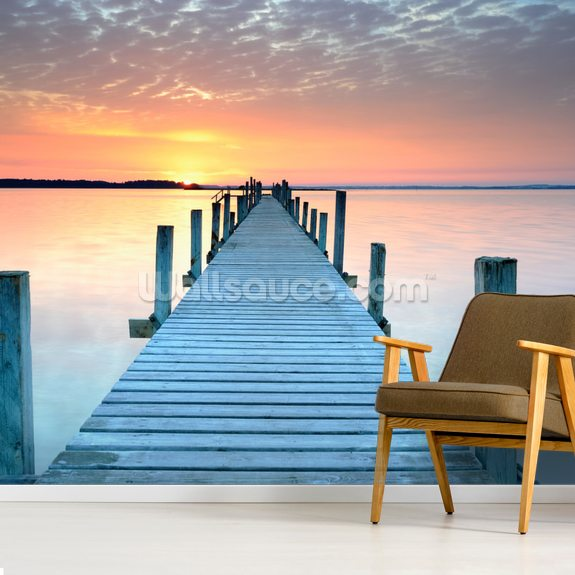 Sunset Jetty wall mural room setting