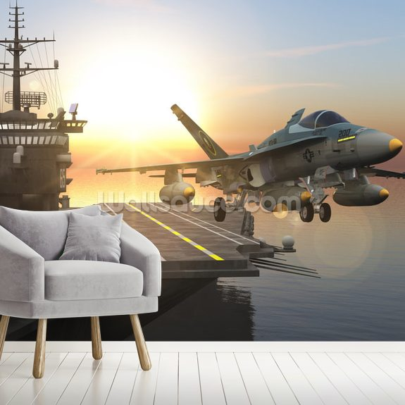 Aircraft Carrier wall mural room setting