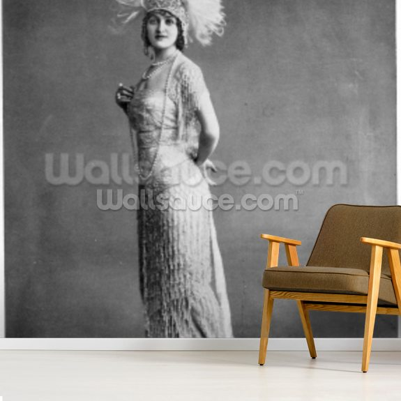 Gaby Deslys (b/w photo) wallpaper mural room setting