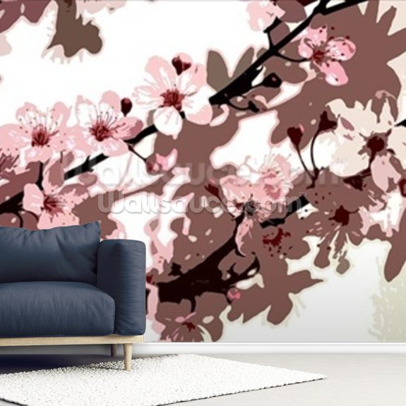 Japanese Blossom (colour photo) wallpaper mural room setting