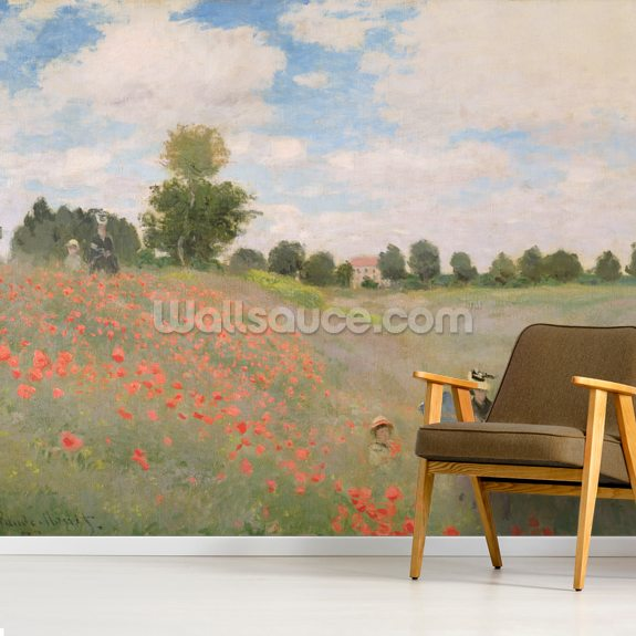 Wild Poppies, near Argenteuil (Les Coquelicots: environs dArgenteuil), 1873 (oil on canvas) wallpaper mural room setting