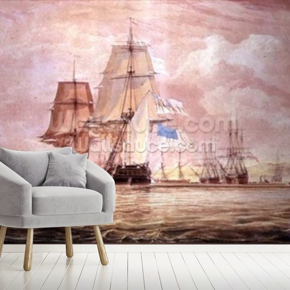 HMS Shannon leading the Chesapeake into Halifax Harbour, 1813 (w/c) mural wallpaper room setting