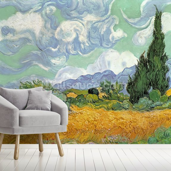 Wheatfield with Cypresses, 1889 (oil on canvas) mural wallpaper room setting