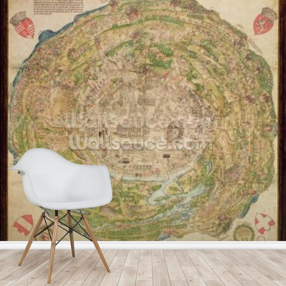Circular map of Vienna during the Turkish siege, 1530 mural wallpaper room setting