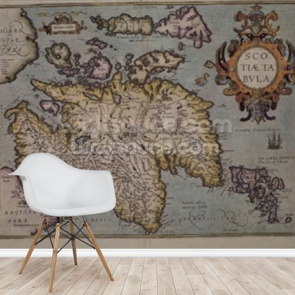 Map of Scotland, Miliaria Scotia wall mural room setting