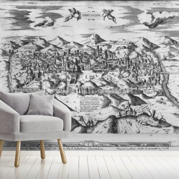View of Jerusalem, 1570 ? (engraving) (b/w photo) wallpaper mural room setting