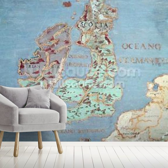 Map of Sixteenth Century Britain and Northern France, from the Sala del Mappamondo (Hall of the World Maps) c.1574-75 (fresco) (detail of 95818) mural wallpaper room setting