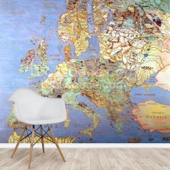 Map of Sixteenth Century Europe, from the Sala del Mappamondo (Hall of the World Maps) c.1574-75 (fresco) mural wallpaper room setting