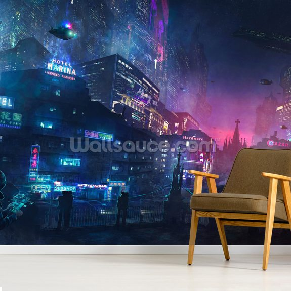 Futurescape Barcelona mural wallpaper room setting