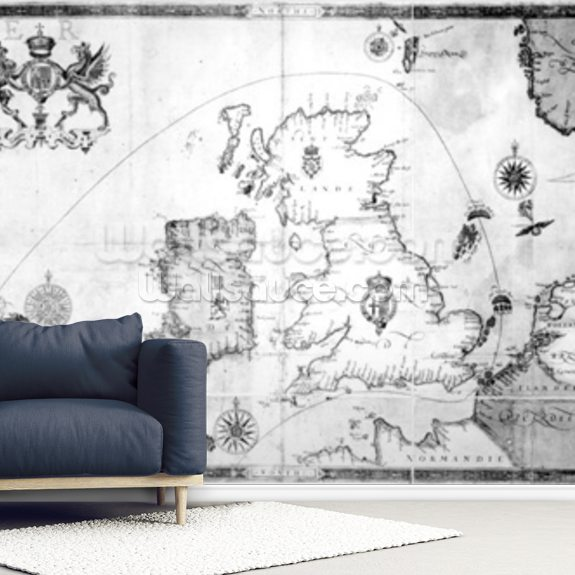 Map showing the route of the Armada fleet, engraved by Augustine Ryther, 1588 (engraving) (b/w photo) wallpaper mural room setting