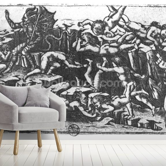 Hell by Dante Alighieri mural wallpaper room setting
