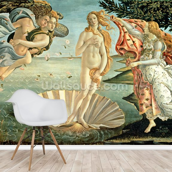 The Birth of Venus, c.1485 mural wallpaper room setting