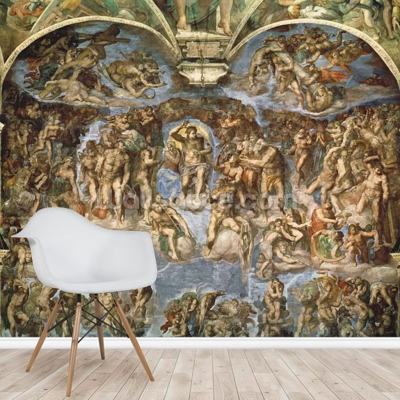 Last Judgement, Sistine Chapel, 1538-41 wall mural room setting