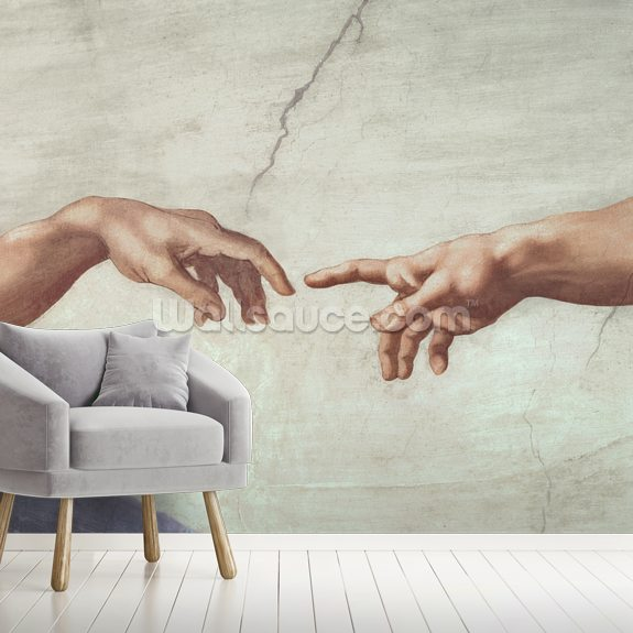 Hands of God and Adam - Sistine Ceiling wall mural room setting