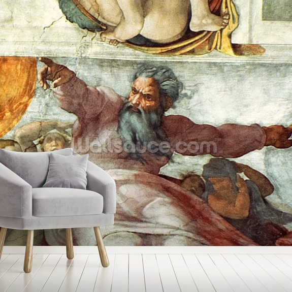 Sistine Chapel Creation of the Sun and Moon wall mural room setting