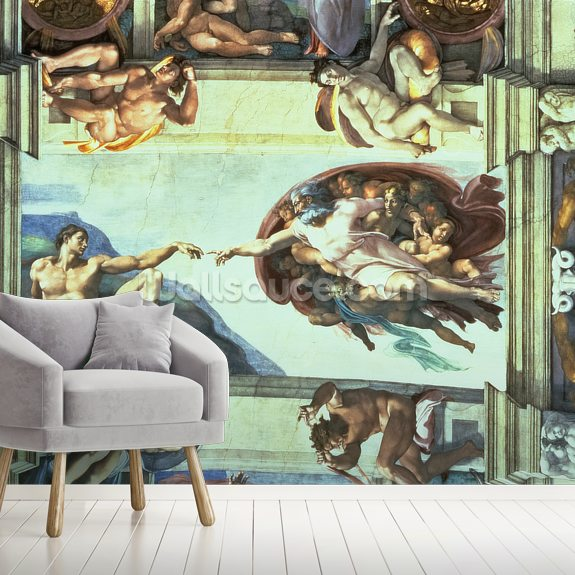 Sistine Chapel Ceiling: Creation of Adam, 1510 wallpaper mural room setting