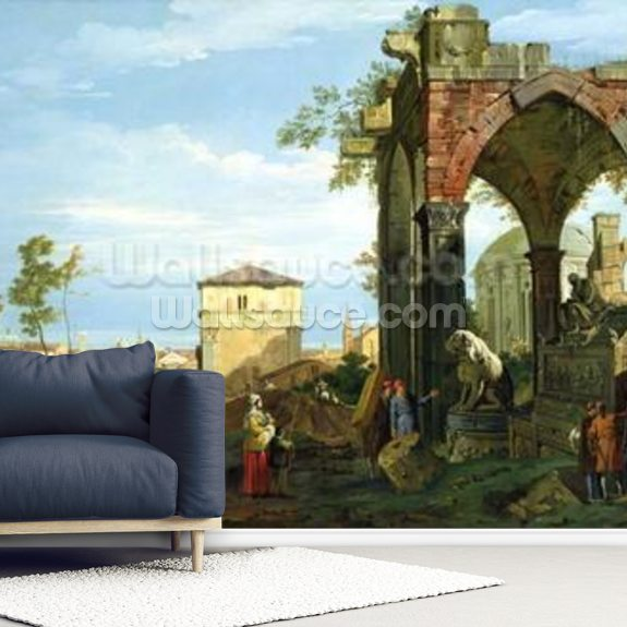Capriccio with Motifs from Padua, c.1756 mural wallpaper room setting