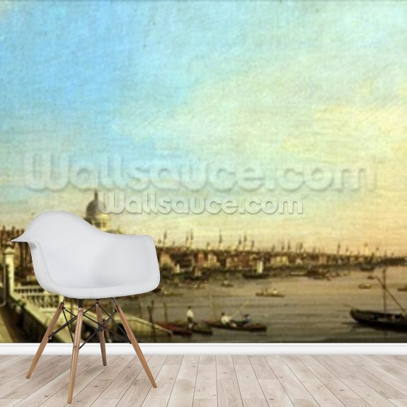 The Thames from Somerset House c.1750 mural wallpaper room setting