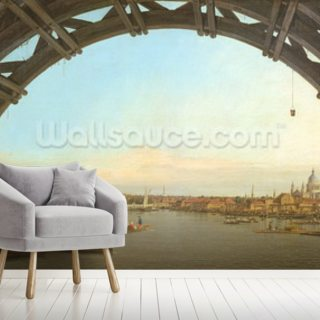 London through Westminster Bridge, 1746-7 Wallpaper Wall Murals