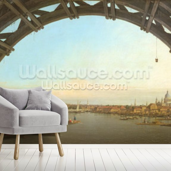 London through Westminster Bridge, 1746-7 wallpaper mural room setting