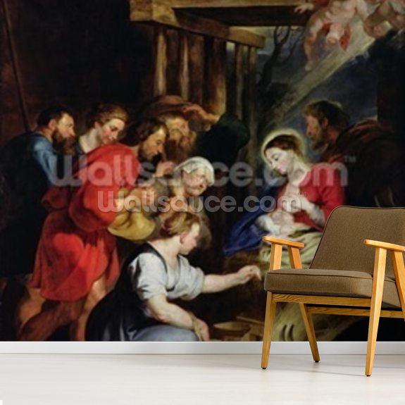 Adoration of the Shepherds (oil on canvas) wall mural room setting