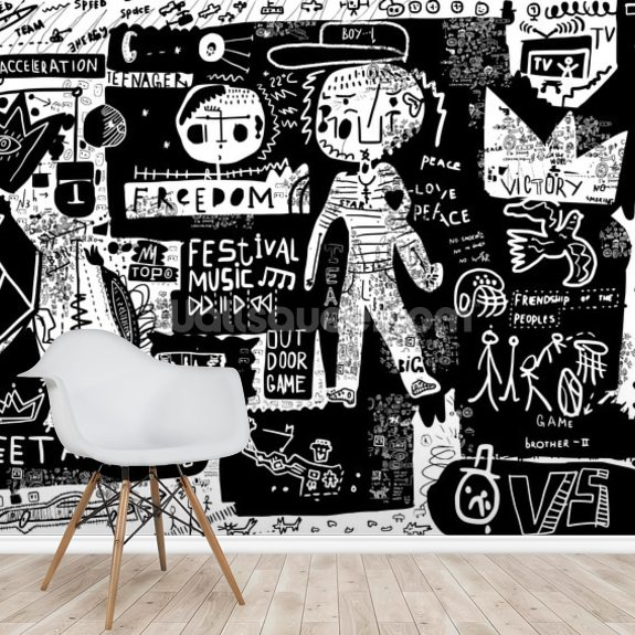 Graffiti Black And White Wallpaper Mural Wallsauce Uk