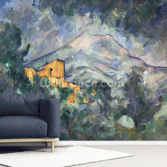 Montagne Sainte-Victoire and Black Chateau, 1904-06 wallpaper mural room setting