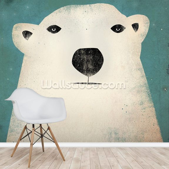 The Polar Bear mural wallpaper room setting
