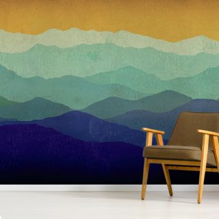 Yellow Sky Mountains Wallpaper Wall Murals