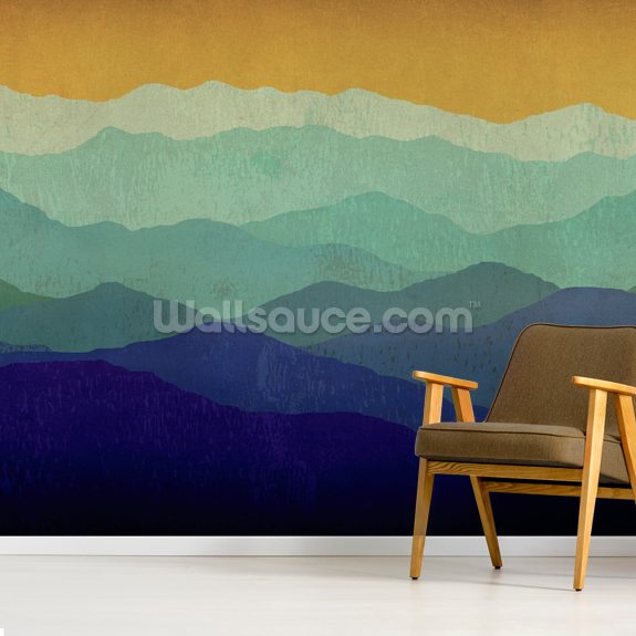 Yellow Sky Mountains wallpaper mural room setting