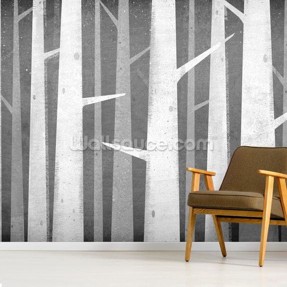 Birch Winter Woods mural wallpaper room setting
