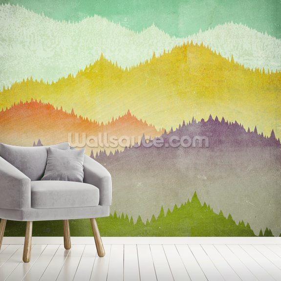 Mountain View mural wallpaper room setting