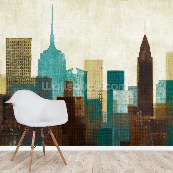 Summer in the City II wall mural room setting