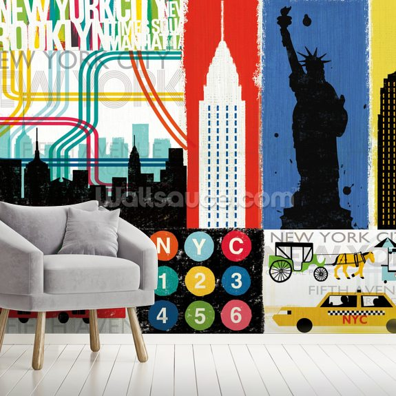 New York City Life IV mural wallpaper room setting