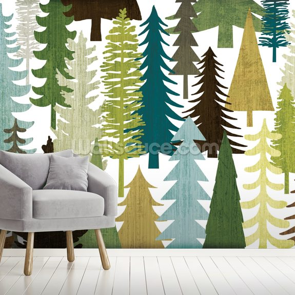 Woodland Trees wallpaper mural room setting