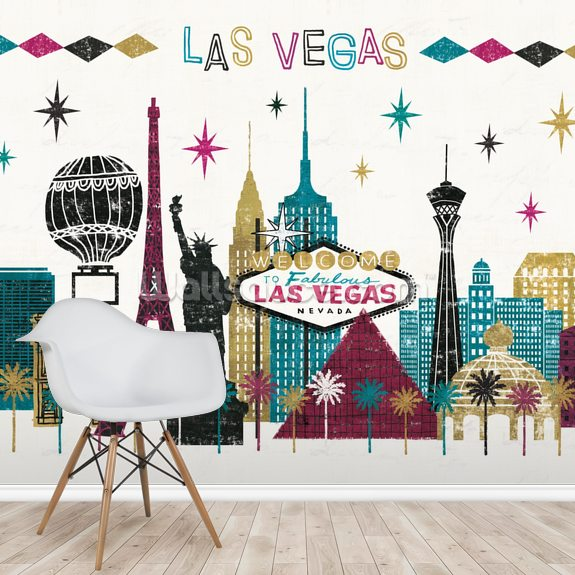 Vegas Skyline mural wallpaper room setting