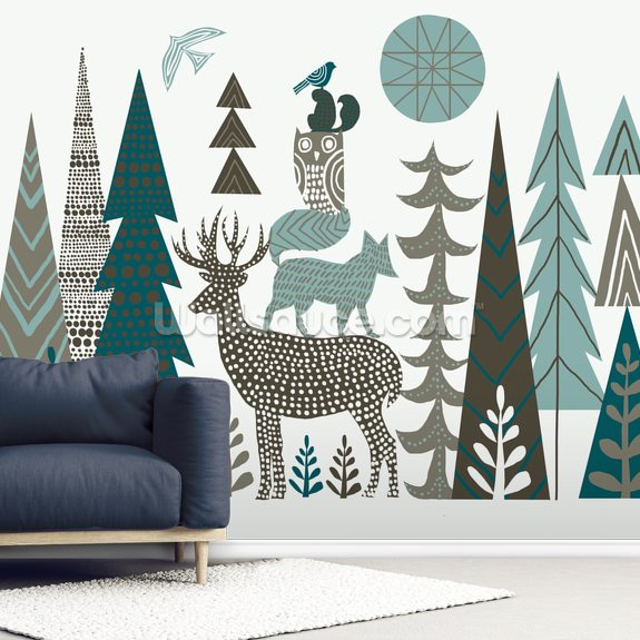 Forest Folklore wallpaper mural room setting
