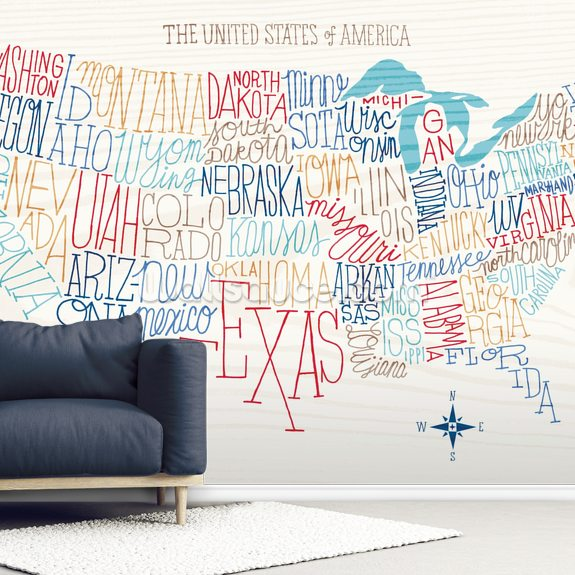 Hand Lettered US Map mural wallpaper room setting