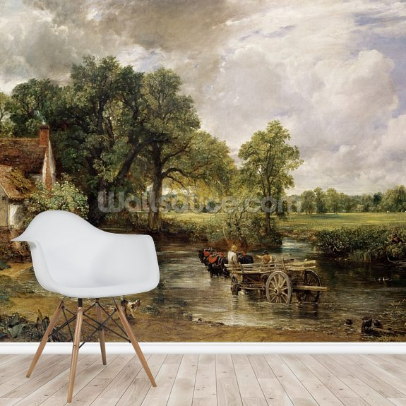 The Hay Wain, 1821 (oil on canvas) wall mural room setting