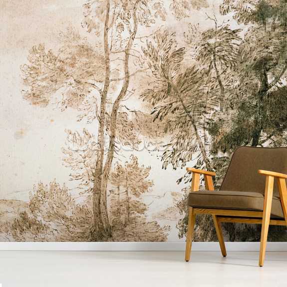 Trees and Deer, after Claude, 1825 wallpaper mural room setting