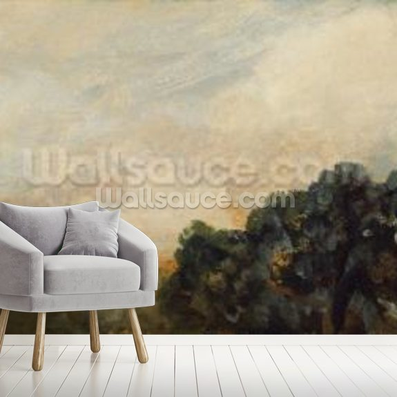 Cloud Study with Trees, 1821 (oil on paper laid down on board) wallpaper mural room setting