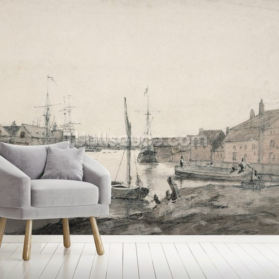 Warehouses & Shipping on the Orewell at Ipswich wallpaper mural room setting
