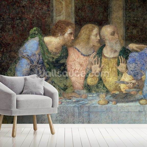 The Last Supper, 1495-97 (fresco) (post restoration) wallpaper mural room setting
