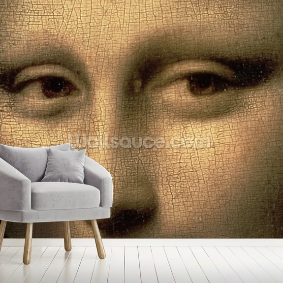 Mona Lisa Eyes mural wallpaper room setting