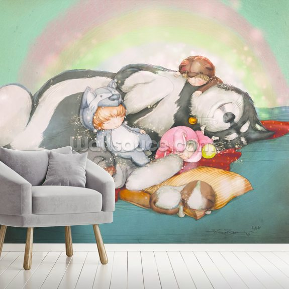 A Nap mural wallpaper room setting