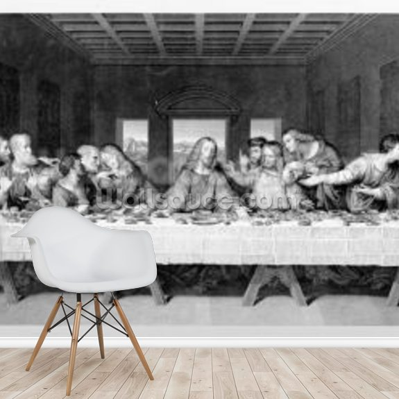 The Last Supper, engraved by Frederick Bacon, 1863 (engraving) mural wallpaper room setting