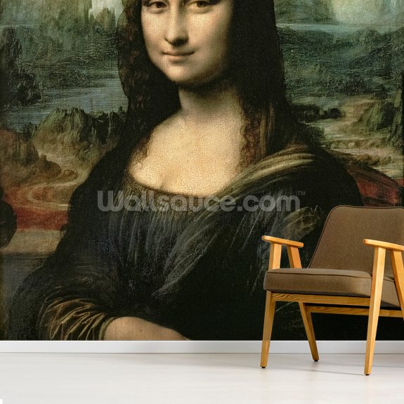 Mona Lisa, c.1503-6 (oil on panel) wall mural room setting
