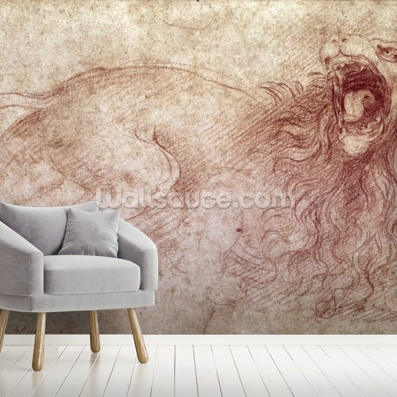 Sketch of a roaring lion (red chalk on paper) wall mural room setting